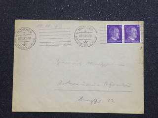 "WW2 Germany Third Reich Cover w Propaganda ""Haupstadt der Bewegung"" Cancellation Franked 2x 6pfg Hitler Stamps"