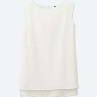 Uniqlo pleated back sleeveless high-neck top