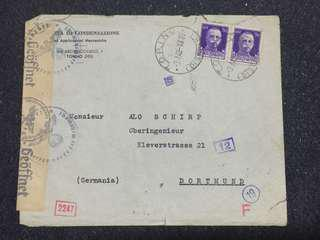 WW2 Italy 1942 Twice Censored Cover from Torino Italy to Dortmund Germany, Multiple Censor Markings Postmarks