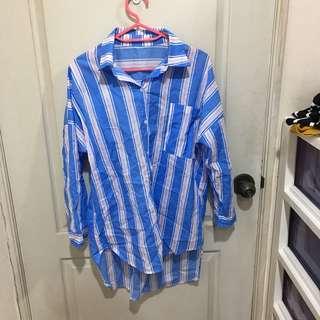 🚚 (全新)藍粉糖果色前短後長襯衫