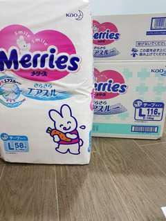 Merries tape diapers size L