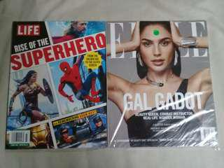 Gal Gadot Mags Combo: Life Magazine - Rise of the Superhero & Elle Magazine Dec 2017