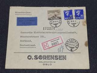 WW2 Norway 1941 Registered Censor Cover to Dortmund Germany Nice Fine