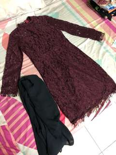 Maroon Lace Kurung Top