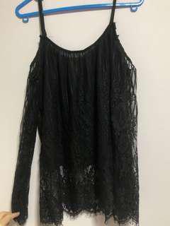 🚚 Black Lace Off Shoulder TOP
