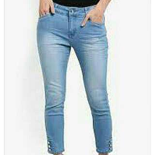 Zalora baby blue button detail jeans