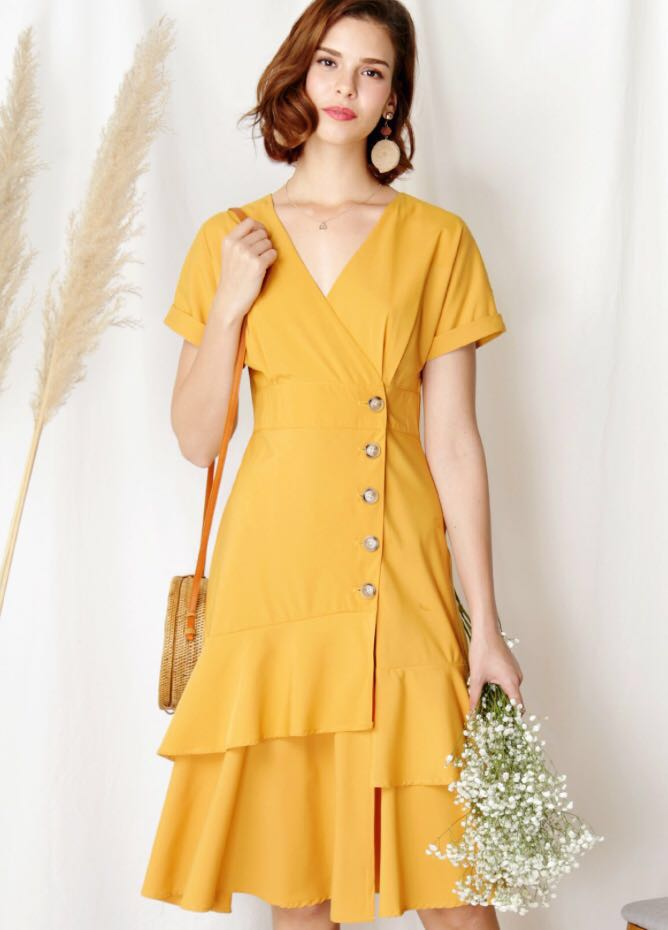 66888a995b Andwelldresssed Harbour Tiered Hem Dress (Marigold), Women's Fashion ...