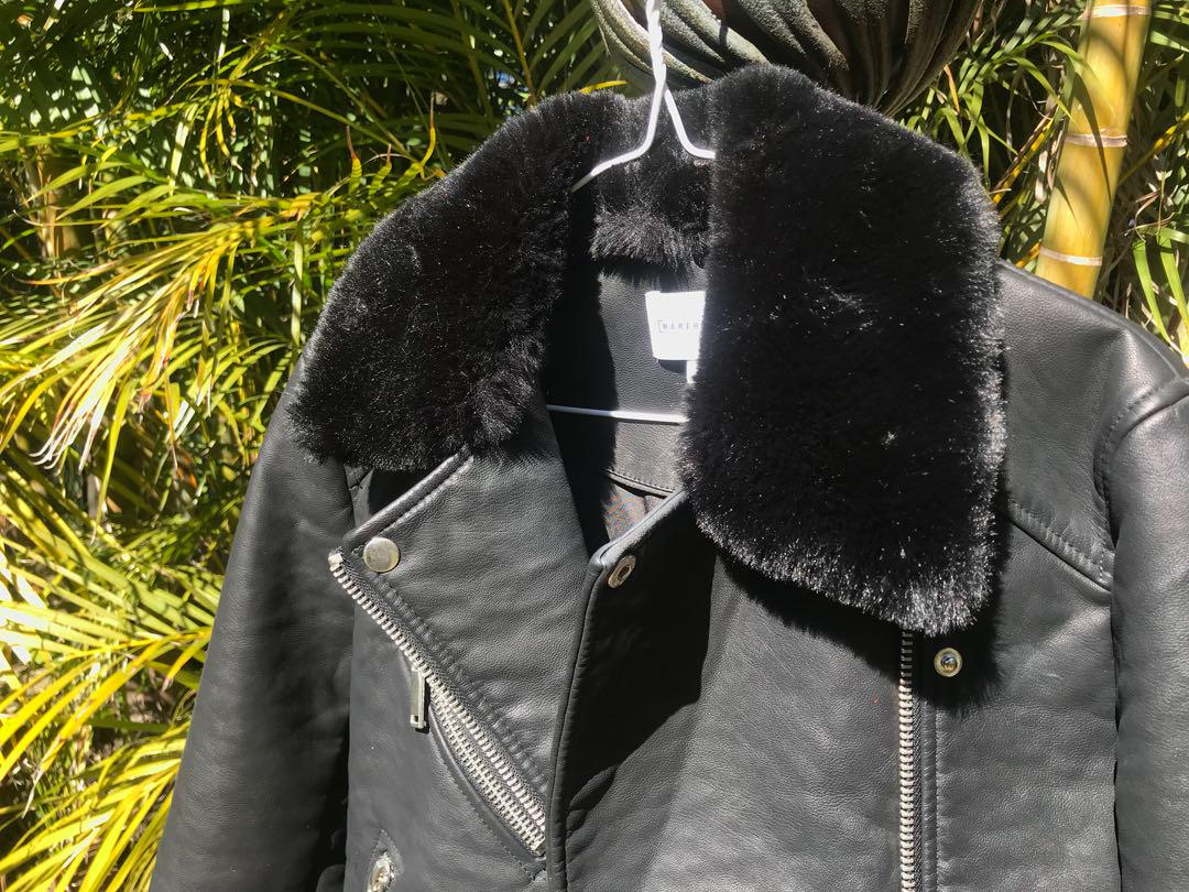 ASOS leather jacket with detachable faux fur collar