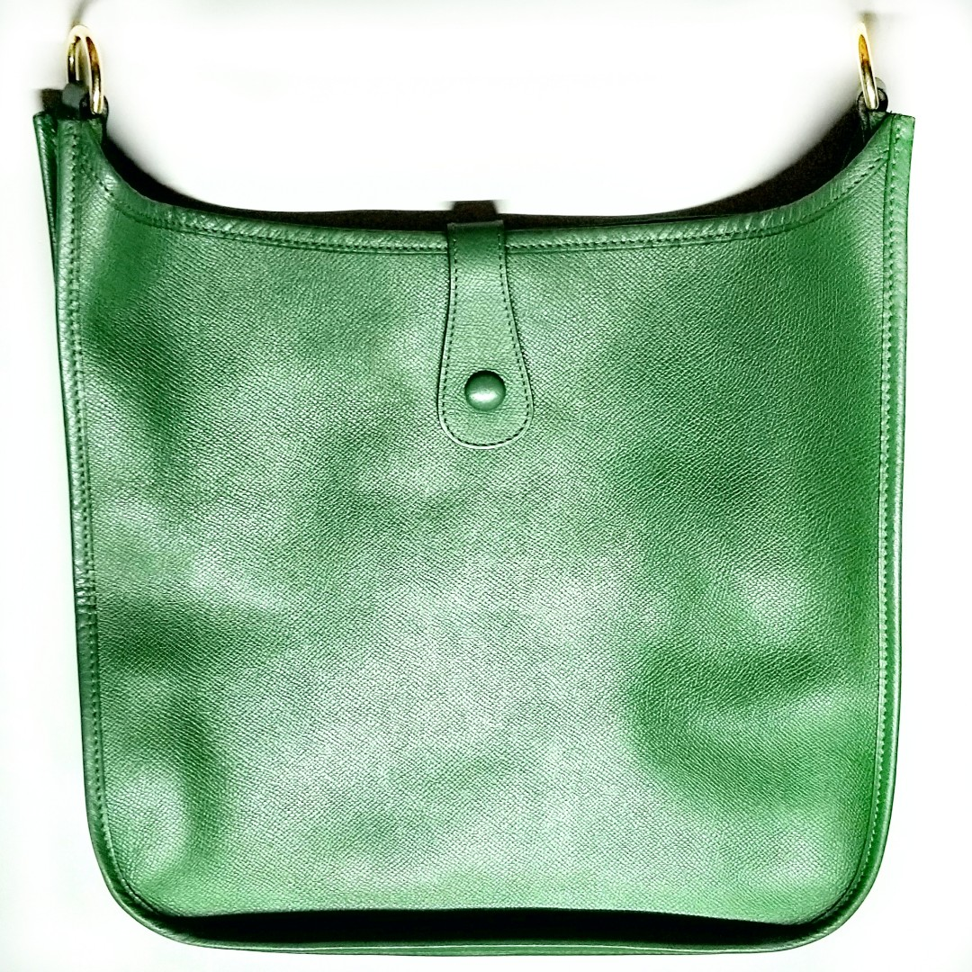 f31905f10bc2 Authentic HERMES Evelyne I GM 33cm Vintage Circle Y Stamp GREEN Courchevel  Leather