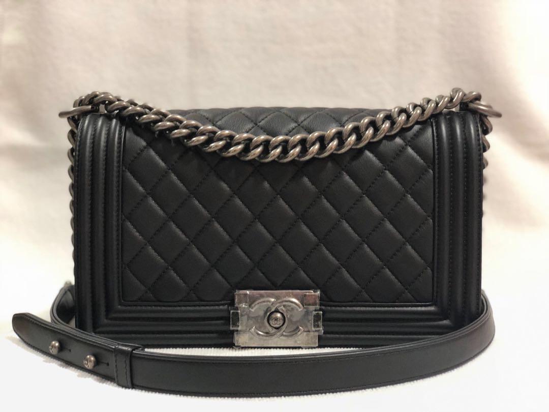 b0eea8925ed9 Chanel Boy Flap Quilted Calfskin Medium Black, Luxury, Bags ...