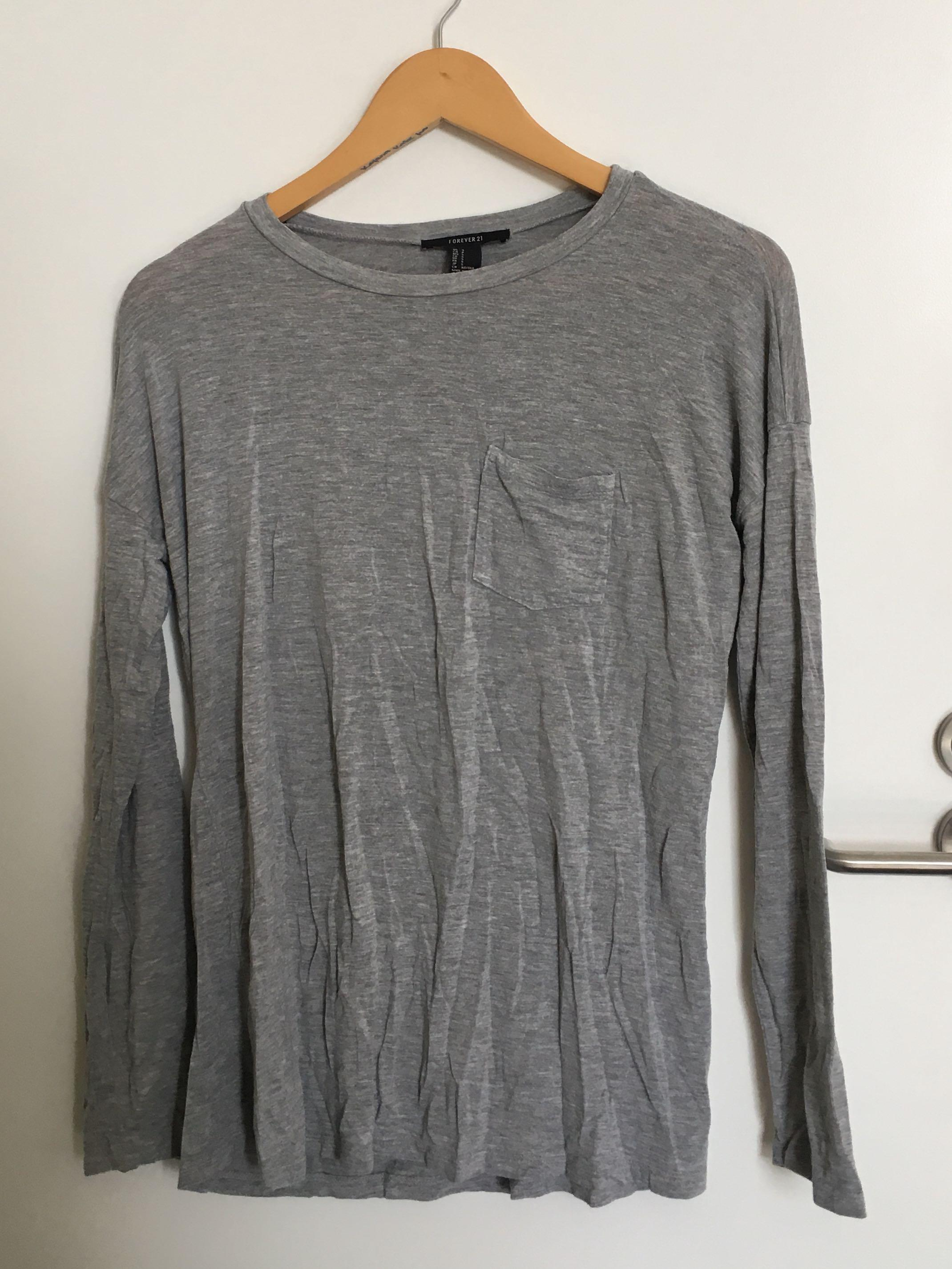 Forever 21 Grey Long Sleeve Top (S)