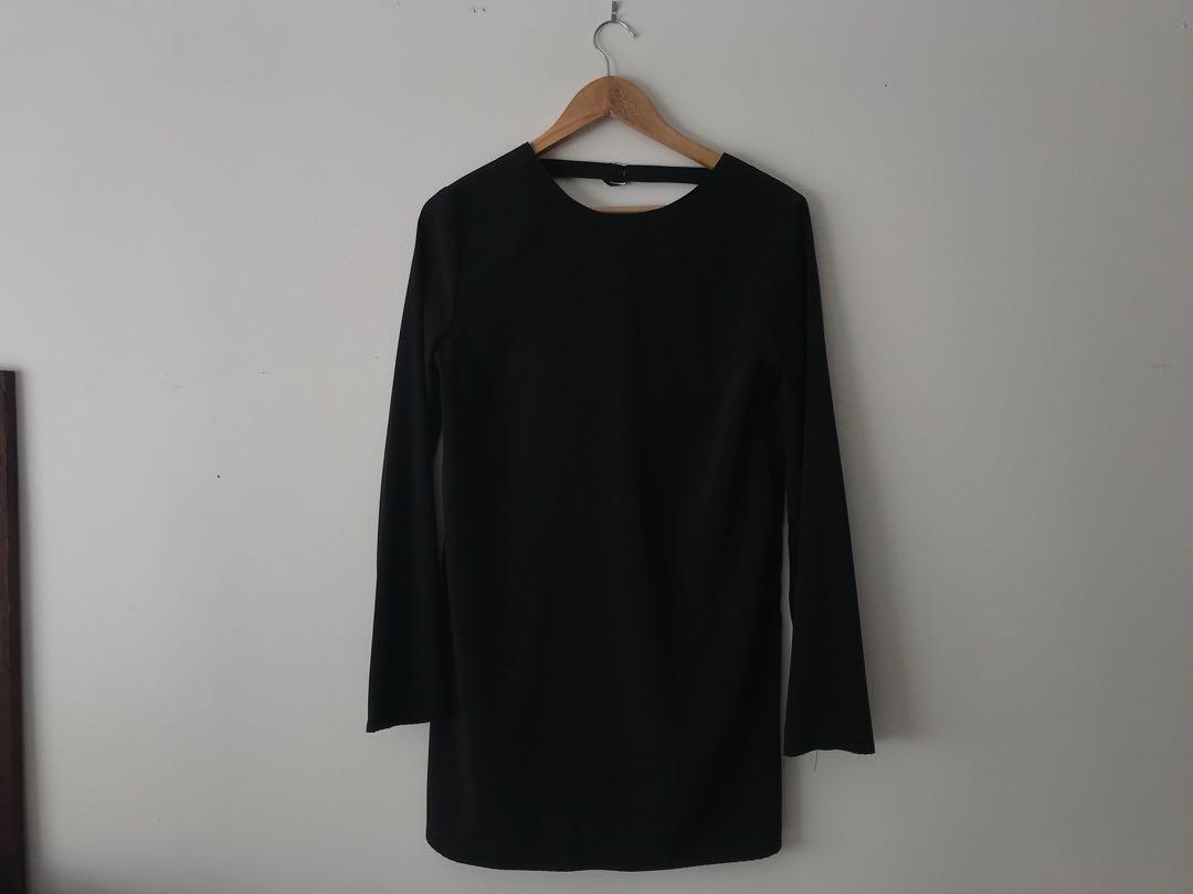 General pants black long sleeve open back dress