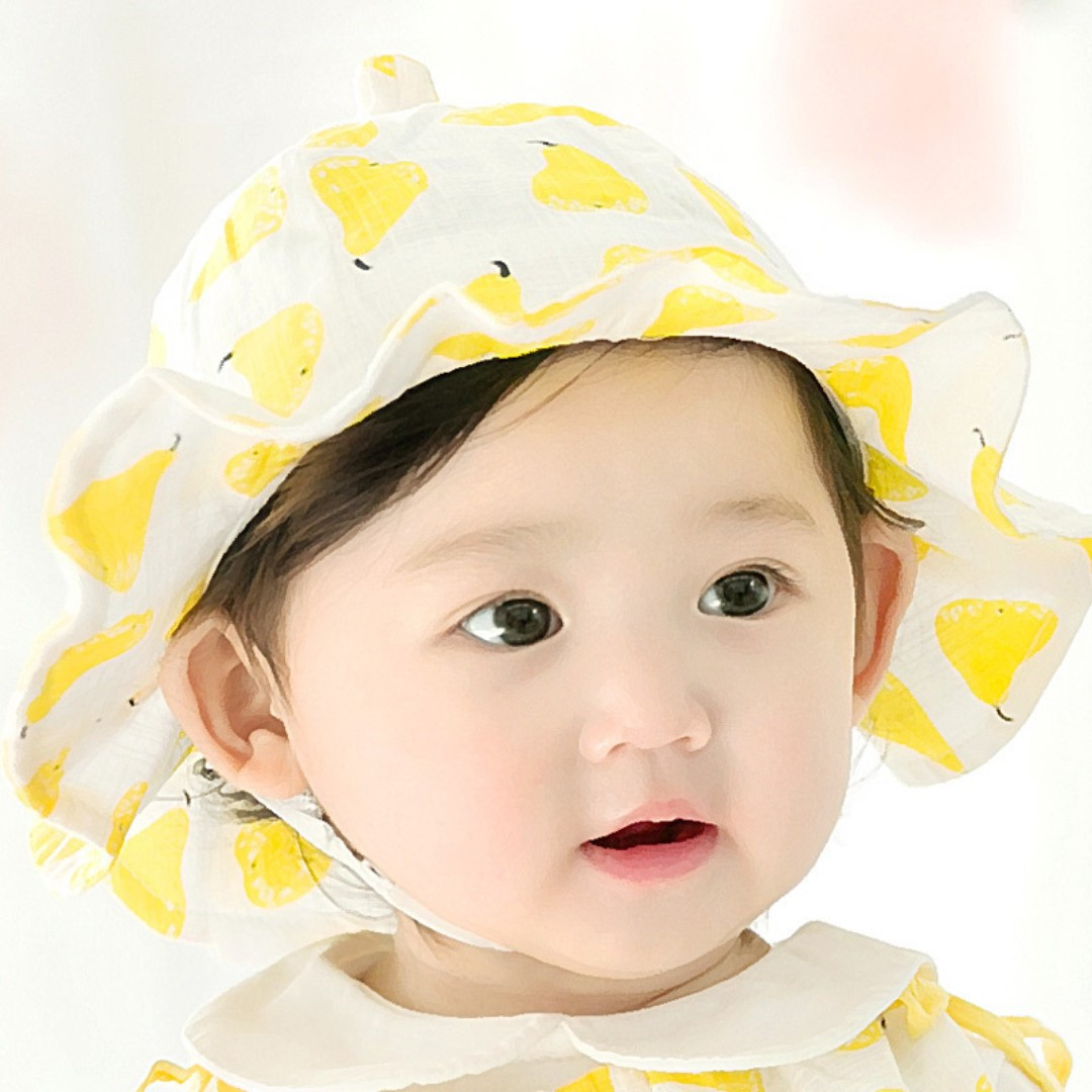 46abdf4f 🌟INSTOCK🌟 Yellow Fruit Newborn Baby Toddler Girl Round Sun Hat ...