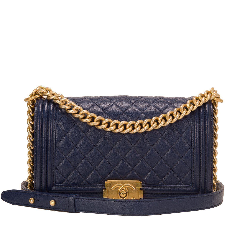 LNIB Authentic Chanel Lambskin Navy Boy Bag with GHW d0ae23710e4a