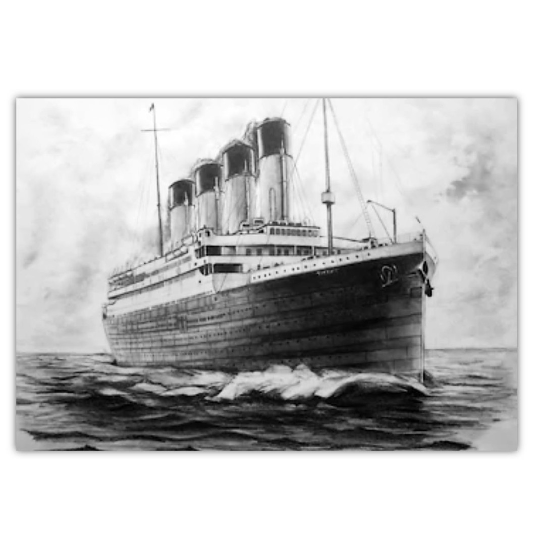 Pencil sketch of the titanic sailing on the ocean canvas art print 45cm length