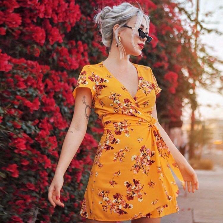 779f6ac1e60c0 PO] H&M Floral Patterned Wrap Dress, Women's Fashion, Clothes ...
