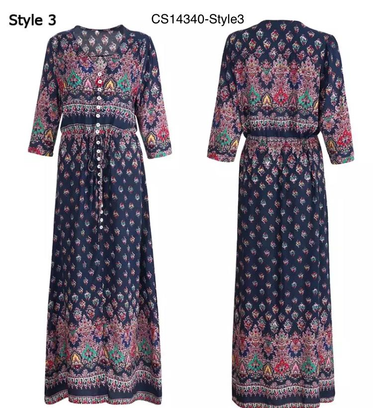 2c360519038 (PO) M-XXXL Long Party Dress Maxi Floor Length Casual Split Retro Summer  Dresses