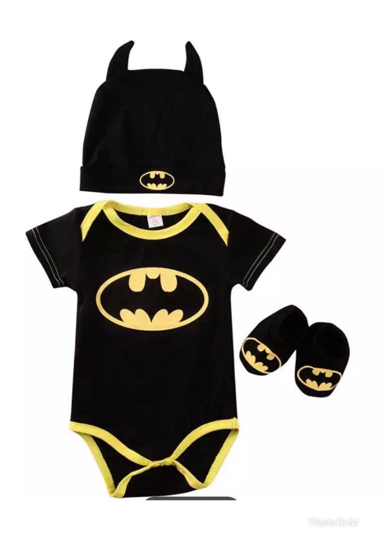 Po Summer Cute Batman Newborn Baby Boys Infant Rompers Shoes Hat