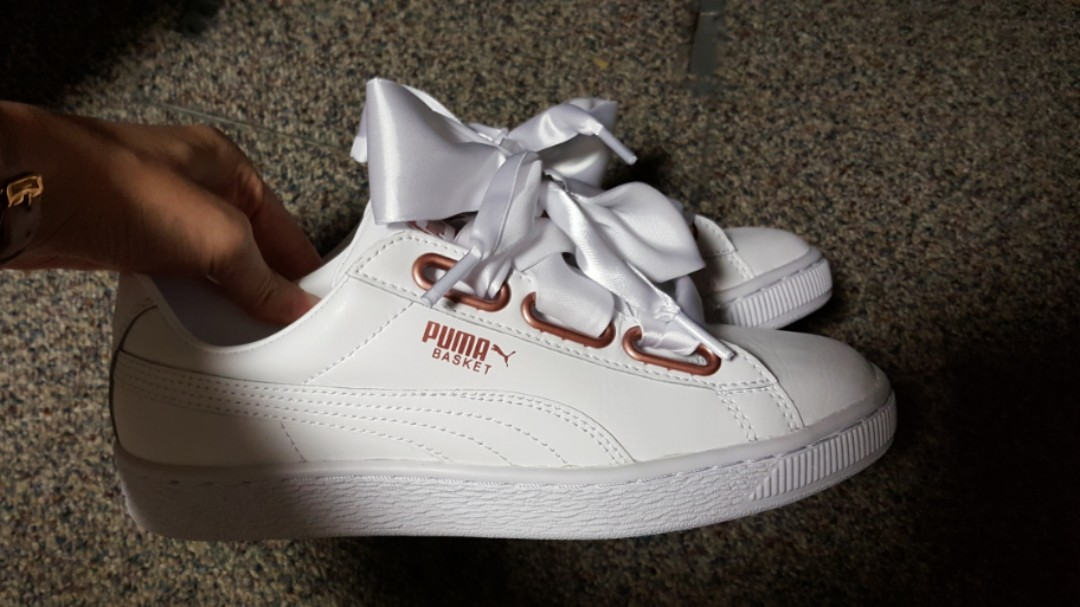on sale 8db5a f813a PUMA Basket Heart in White (Rose Gold), Women's Fashion ...