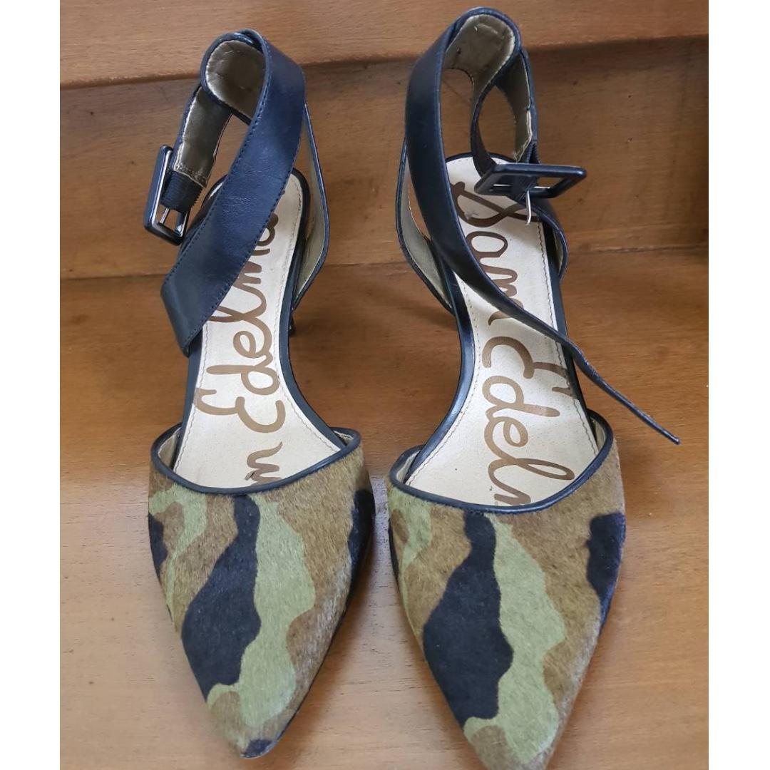 003021828c09 SAM EDELMAN Okala Calf Hair   Leather Ankle Wrap Pumped Olive Black ...
