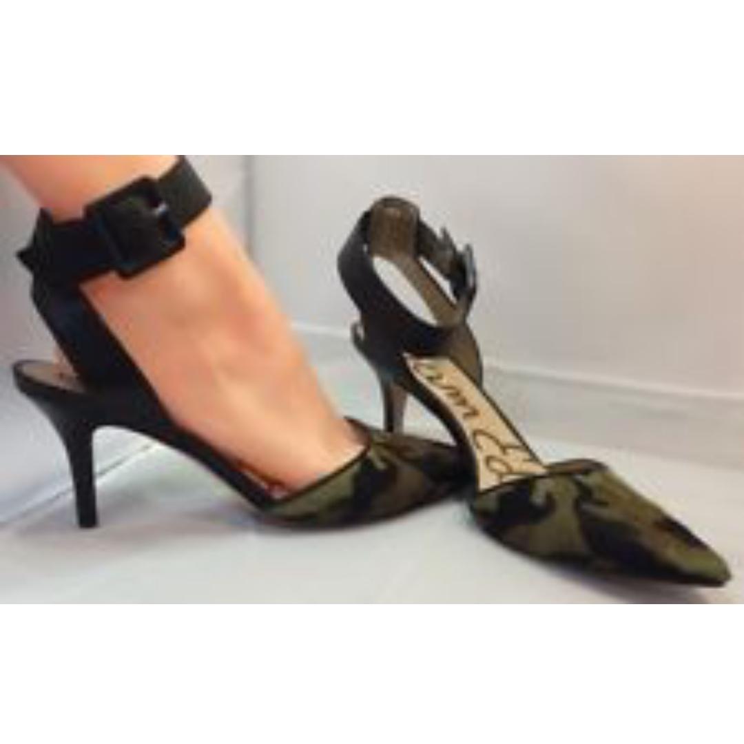 4c07c0a51f2e SAM EDELMAN Okala Calf Hair   Leather Ankle Wrap Pumped Olive Black Camo