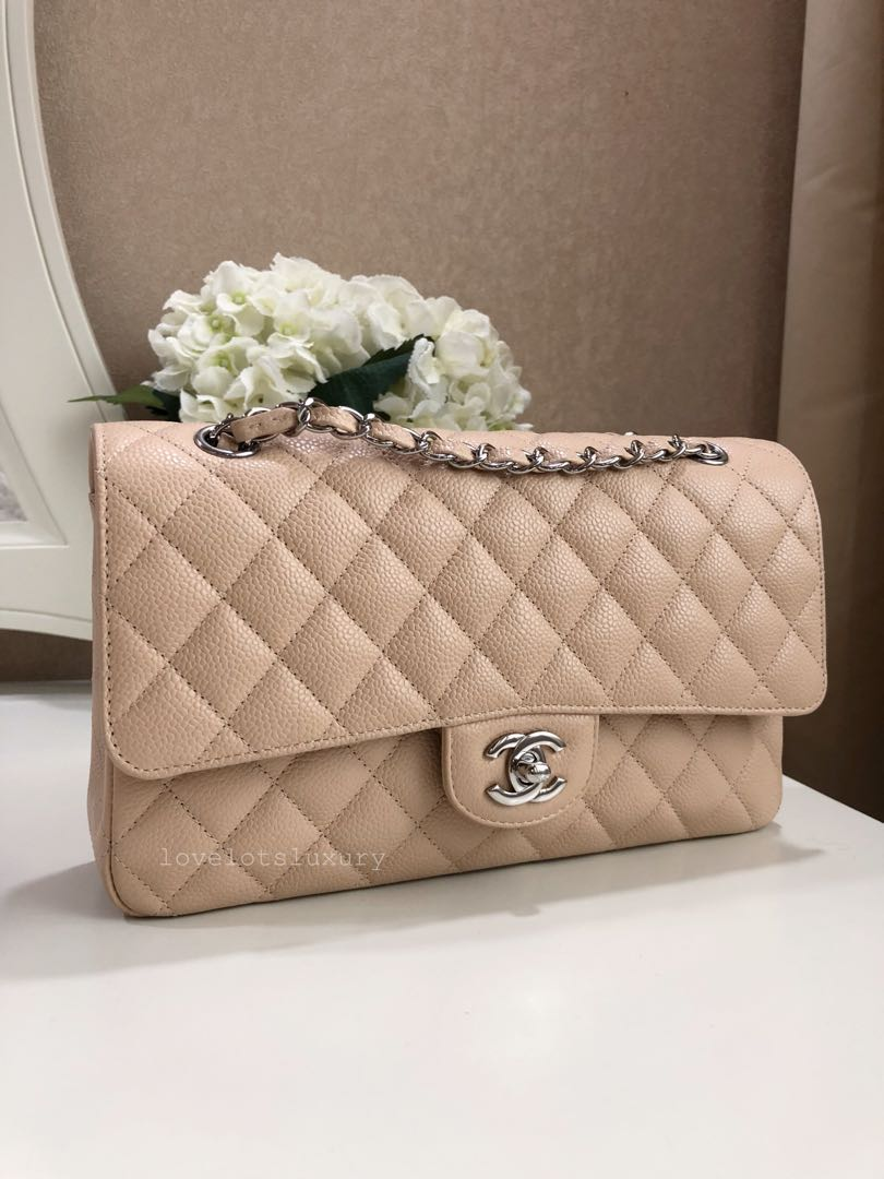 6d375c9262eab SOLD) Chanel Classic Quilted Medium Large Double Flap Light Beige ...