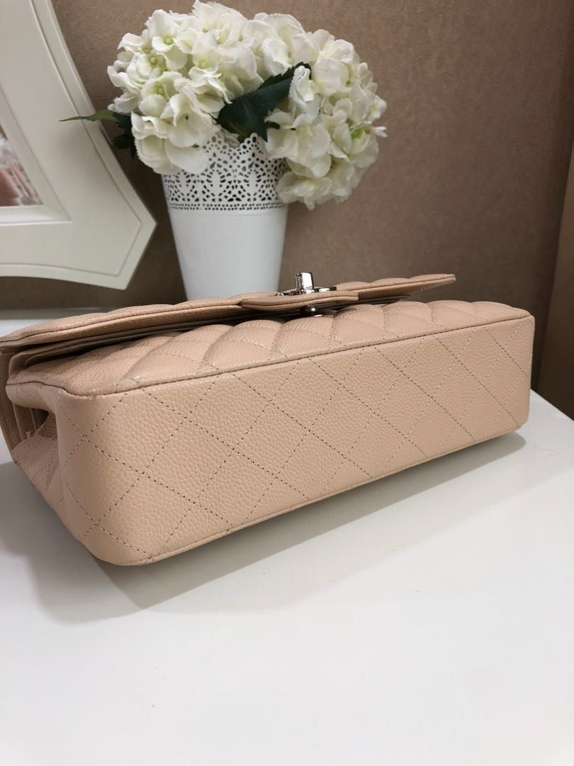 c535386cc4774 (SOLD) Chanel Classic Quilted Medium Large Double Flap Light Beige Claire  SHW
