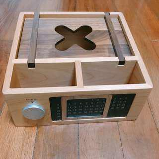Authebtic Decorative Wooden Clock & Calander Stationary Holder