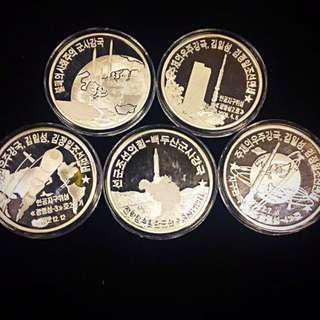 2016 DPRK North Korea 20 WON Missiles Program Silver Proof Complete Set of x5 Coins 1 oz. Uncirculated Mint Condition