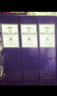 麥卡倫18年雪梨桶威士忌700ml with box, 香港行貨。每一支計,不議價。