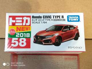 Tomica civic type r 58 1st day sticker