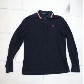 Fred Perry Navy Long Sleeve Twin Tip Medium