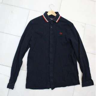 Fred Perry Woven Polo Shirt Navy