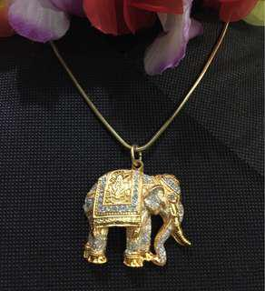 Gold and Silver Elephant Pendant