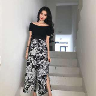 🔥READYSTOCK🔥 Brand New Off Shoulder Top + B&W Floral Pants (Setwear)