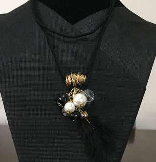Black Feather Long Necklace