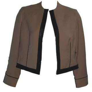 Anne Klein Faux Leather Cappuccino Jacket - Size 14