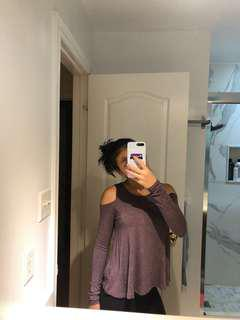 (S) Garage Purple Cold Shoulder Swing Top