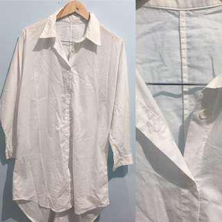 Korean oversized polo long top white