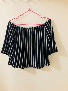 Black and white stripe off shoulder shirt