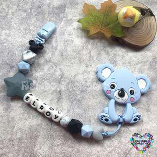 Customized Pacifier Clip with letter beads + blue koala Teether
