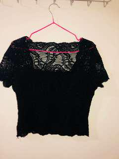 Women's black lace scoop-neck shirt