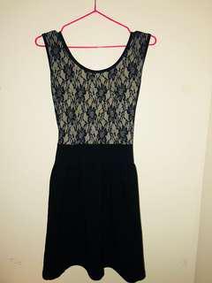 Black and gray sleeveless dress