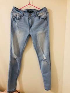 Blue denim straight cut jeans size 11