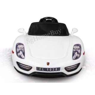 In-stock - white Porsche electric car for kids