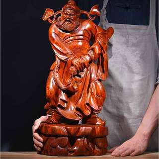 天師鍾馗 花梨木 黑檀木 雕刻 木雕 開運 風水 避邪 鎮宅 擺件 佛像
