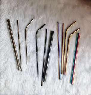 Metal straws (Available in Silver, Black, and Mermaid) READ DESCRIPTION FOR MORE DETAILS