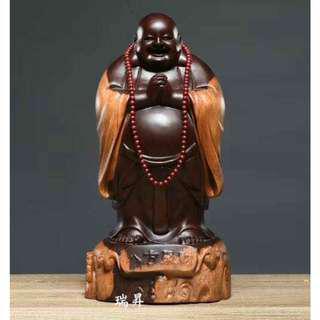 彌勒佛 八方聚財 花梨木 黑檀木 雕刻 木雕 開運 風水 避邪 鎮宅 擺件 佛像