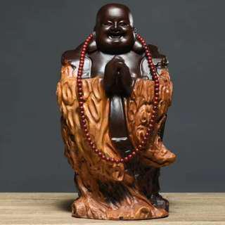 彌勒佛 恭喜發財 黑檀木 雕刻 木雕 開運 風水 避邪 鎮宅 擺件 佛像
