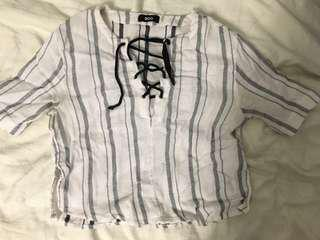 Urban Outfitters crop lace-up tee size M